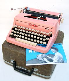 PINK 1950s Royal Typewriter with Case and Owners Instruction Booklet PROFESSIONALLY SERVICED and New Platen. $575.00, via Etsy.