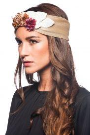 Turbante Bandeau Beige Halo Headband, Fascinator Headband, Wide Headband, Wedding Headband, Knitted Headband, Head Accessories, Summer Accessories, Headdress, Headpiece