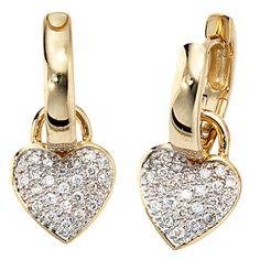 Creolen Herz 585 Gold Gelbgold teilrhodiniert 48 Diamanten Brillanten A32195