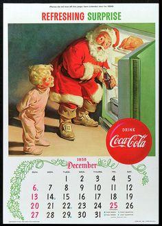 Vintage Coca Cola Ad Calendar 1959 ~ Santa And Little Boy Coca Cola Christmas, Christmas Ad, Vintage Christmas Cards, Xmas, Christmas Kitchen, Coca Cola Vintage, Coca Cola Poster, Coca Cola Ad, Frank Frazetta