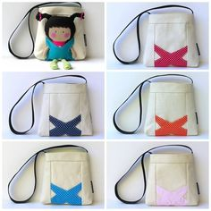 "Here's a great way for your little one to carry their 11"" My Teeny-Tiny Doll® around – the Carry-Me Messenger Bag.The bag is made from canvas fabric and is fully lined with quilting cotton. The cute ""X"" pocket detailing at the front allows you to put your doll in securely so they can look around while your little one is out and about.The bag measures 7.5"" (W)  x 7"" (L) x 2"" (D). It has a long 28"" strap so it can be worn across the chest for extra security ...:"