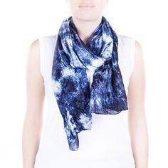 navy silk scarf / dark blue pongee scarf  /  Hand by CeliaEtcetera