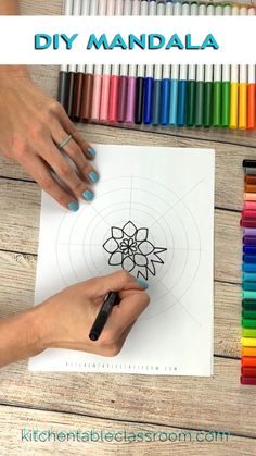 Draw a mandala using this free mandala template as a guide. One line, one row, at a time you can draw a mandala that looks like a page out of a mandala coloring book! drawing Draw your own mandala Mandala Design, Doodle Art, Mandalas For Kids, Classe D'art, Mandala Drawing, Mandala Doodle, Mandala Art Lesson, Mandala Artwork, Middle School Art