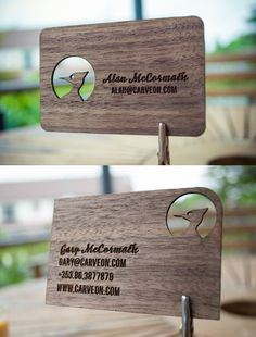 These wooden business cards are amazing!!  Designed by Alan McCormack.