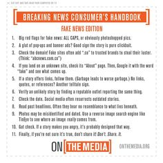 "From the various news stories and blog posts recently about ""fake news,"" come the following recommendations and advice. (NOTE: lesson plans are posted near the bottom of this list)  Do you have suggestions for content that could be added here? Please consider sending it to me:  fbaker1346@gmail.com Click image for larger version.   …"
