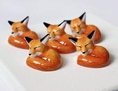 sleeping red fox figurine by byrdis on Etsy