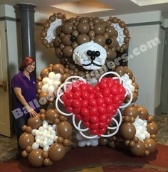"""This adorable teddy bear was created as part of our story on """"Evening Magazine"""" featured here in Seattle on King 5. The design used roughly 600 balloons and has become one of our most requested designs!"""