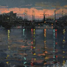 Jacob Dhein, Sunset on the Amstel River. oil, 24 x 24.