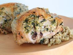 Quinoa Feta & Spinach Stuffed Chicken Breasts    These look amazing.  You could totally play with the filling - some cranberries might be tasty.  Or Goat Cheese...