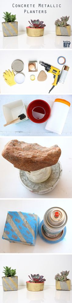 How to Make Concrete Metallic Planters // 3 Ways to Make a Beautiful DIY Planter