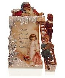 Standing Victorian Santa In Chimney Christmas Card