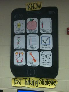 "(iPhone) ""iKnow"" Test Taking Strategies bulletin board idea Test Taking Skills, Test Taking Strategies, Reading Strategies, Comprehension Strategies, School Bulletin Boards, School Classroom, Classroom Ideas, Future Classroom, Classroom Rules"