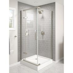 Delta 36 in. x 36 in. x 76 in. Corner Hinged Frameless Shower Enclosure in - The Home Depot Corner Shower Enclosures, Frameless Shower Enclosures, Corner Shower Tile, Corner Showers, Small Bathroom With Shower, Tiny Bathrooms, Small Walkin Shower, Small Basement Bathroom, Lake Bathroom