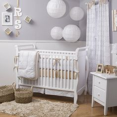 Is grey too drab for a nursery? Grey damask bedding from Carousel Designs. $364 for the set.