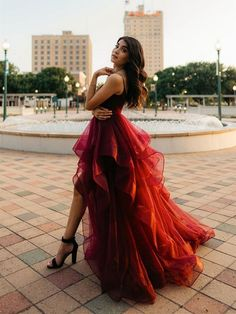 High Low Evening Dresses, Long Prom Gowns, High Low Dresses, Red High Low Dress, High Neck Prom Dresses, High Low Gown, Short Prom, Cute Prom Dresses, Tulle Prom Dress
