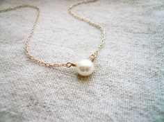 Perfect Pearl Necklace - Fresh Water Pearl and Gold Filled - Sweet and Simple Dainty Jewelry. $29.00, via Etsy.