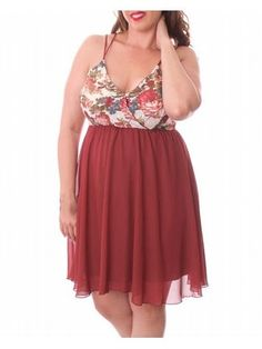 Burgundy Queen of Hearts Dress $29.99  #alight #alightcom #plussize #plussizefashion #plussizeclothing #summer #summer2016 #trend #trendy #cute #burgundy #dress #plussizedress #plussizedresses #sale #plussizesale  Beautifully styled dress has a floral print bodice with skinny, non adjustable straps and sheer overlay skirt. Bust has soft cups for shaping.