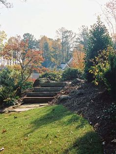 A nice set of natural stone steps takes users to the next level. The slope is nicely mixed with small trees, shrubs, boulders and mulch that are simple but effective in a countryside landscape. Picture compliments of www.nichegardenslandscaping.com