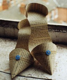 Paper stilettos made of vintage book pages by Jennifer Collier £50.00