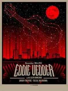 Eddie-Vedder-Munk-One-Tulsa-Poster - Scorpio/Red moon/eddie