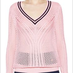 Tory Burch Rylee Ballet Pink Sweater Bought from another posher and is too small..so sad! Just looking to get my money back so price is pretty firm Literally perfect condition! Tory Burch Sweaters V-Necks