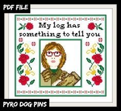 Log Lady Pattern/PDF -  Twin Peaks Cross Stitch Sampler - INSTANT DOWNLOAD by PyroDogPins on Etsy https://www.etsy.com/listing/122733290/log-lady-patternpdf-twin-peaks-cross