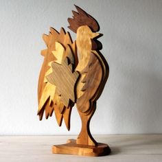 The Ryssby Rooster is made out of seven kinds of deciduous forest wood from the Ryssby parish. Made by Mats Olsson.