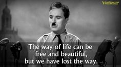 Charles Chaplin in The Great Dictator (1940).