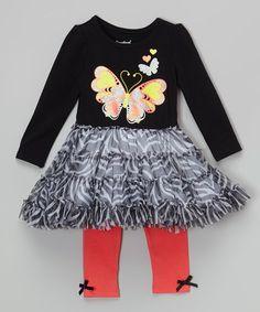 This Orange & Black Tutu Dress & Leggings - Toddler & Girls is perfect! #zulilyfinds