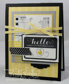 Stamps: Tape It, Wanderlust, Off the Grid Paper: Basic Black, Whisper White, Daffodil Delight, Smokey Slate, Gingham Garden DSP Ink: Basic Black Accessories: Daffodil Delight Taffeta Ribbon, Artisan Punch, Owl Builder Punch (heart), Neutrals Candy Dots, Epic Day This & That Designer Series Washi Tape