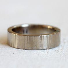 Wide 14k Gold Tree Bark Wedding Ring