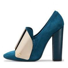 $241  Yves Saint Laurent blue suede metal embellished