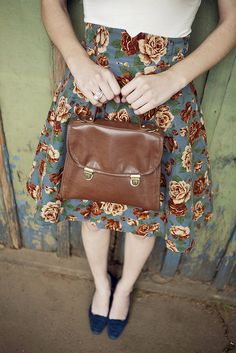 this floral skirt and lovely brown handbag and pointed flats is a lovely way of dressing up