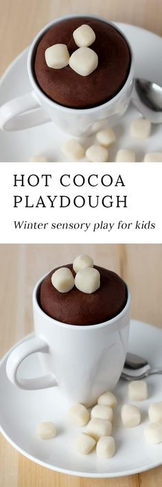 Hot Chocolate Playdough is easy to make! It smells like real chocolate and is fun winter sensory play for kids.