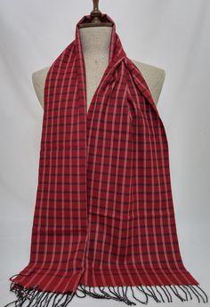 Scarf - Wool Men's Scarf - Claret red Scarf - SL037 #handmadeatamazon #nazodesign