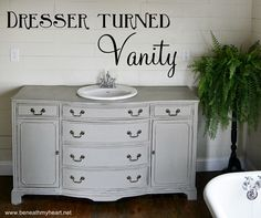 Dresser turned Vanity Makeover | Beneath My Heart