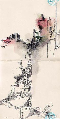 Gamcheon cultural village, busan by Park Sunga Watercolor Sketch, Watercolor Paintings, Watercolor Trees, Watercolor Portraits, Watercolor Landscape, Abstract Paintings, Watercolours, Drawing Sketches, Art Drawings