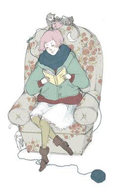 Reading calm? / Lectura sosegada? (ilustración de Ke-Ai)
