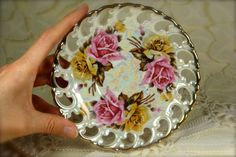 Gorgeous Vintage Pink and Yellow Roses by TinyandBeautiful on Etsy
