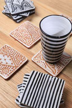 Chabi Chic - 4 SOUS VERRES EN CERAMIQUE coaster ceramic morocco tableware interior design handmade