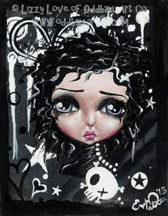 Big Eye Art Emo Goth Print Signed Black Beauty by by OddballArtCo, $9.99