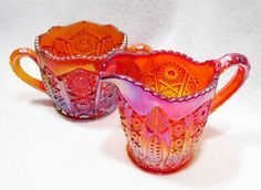 Vintage Indiana Carnival Glass Heirloom Ruby Red Creamer Pitcher & Sugar Bowl