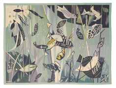 """""""POISSONS VERTS"""" (""""GREEN FISH"""").  Tapestry weave (gobelängteknik). 106 x 139 cm. Signed GYNNING PF. (Lars G., Pinton Frères, Aubusson). Designed around 1960. A sewn on label at the back."""