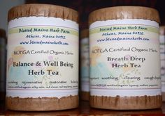 New 100% recyclable packaging for our MOFGA Certified Organic Herb Tea Blends!