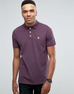 Abercrombie & Fitch Pique Polo Stretch Slim Fit Icon Logo in Plum