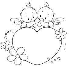Oiseaux sur le cœur 925   32 coloriage à imprimer
