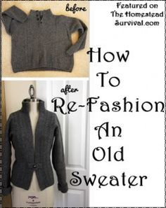The Homestead Survival | How to Re Fashion an Old Sweater Sewing Project | http://thehomesteadsurvival.com