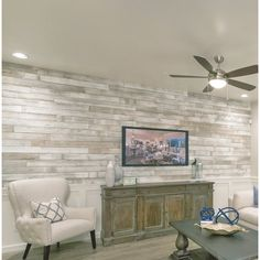 Centennial Woods Solid Reclaimed Wood Wall Paneling in Sundance Whitewash Stick On Wood Wall, Peel And Stick Wood, Diy Wood Wall, Plank Walls, Wood Panel Walls, Wood Paneling, Wood On Walls, Flooring On Walls, Painted Wood Walls