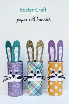 Easter Crafts: Paper Roll Bunnies: