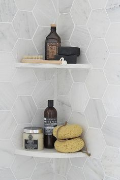 Modern Gray - Shower Organization - Hexagon Tile - Bathroom Ideas - Kitchen Design —I like the tiles shape, but I also like the corner shelves Hexagon Tile Bathroom, Hexagon Tiles, Laundry In Bathroom, Bathroom Makeover, Bathroom Styling, Shower Organization, Bathroom, Bathroom Shower, Bathrooms Remodel